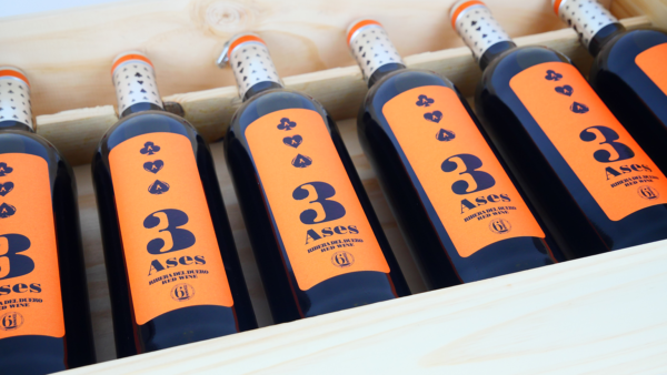 Caja de Madera. 6 botellas roble. 3Ases